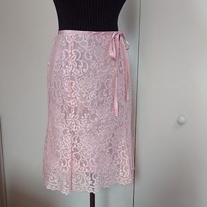 Pink over pink lace skirt